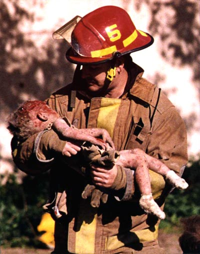 Hero Firefighter Chris Fields Carries Angel Baylee Almon